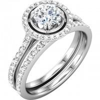 Platinum – Halo – Bead Engagement Ring