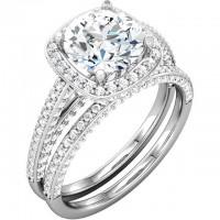 Platinum Cushion – Halo – Bead Wedding Set